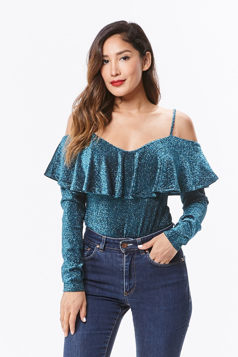 Open Shoulder Ruffle Bodysuit - Teal