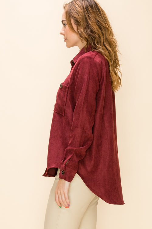 Button Down Blouse - Wine