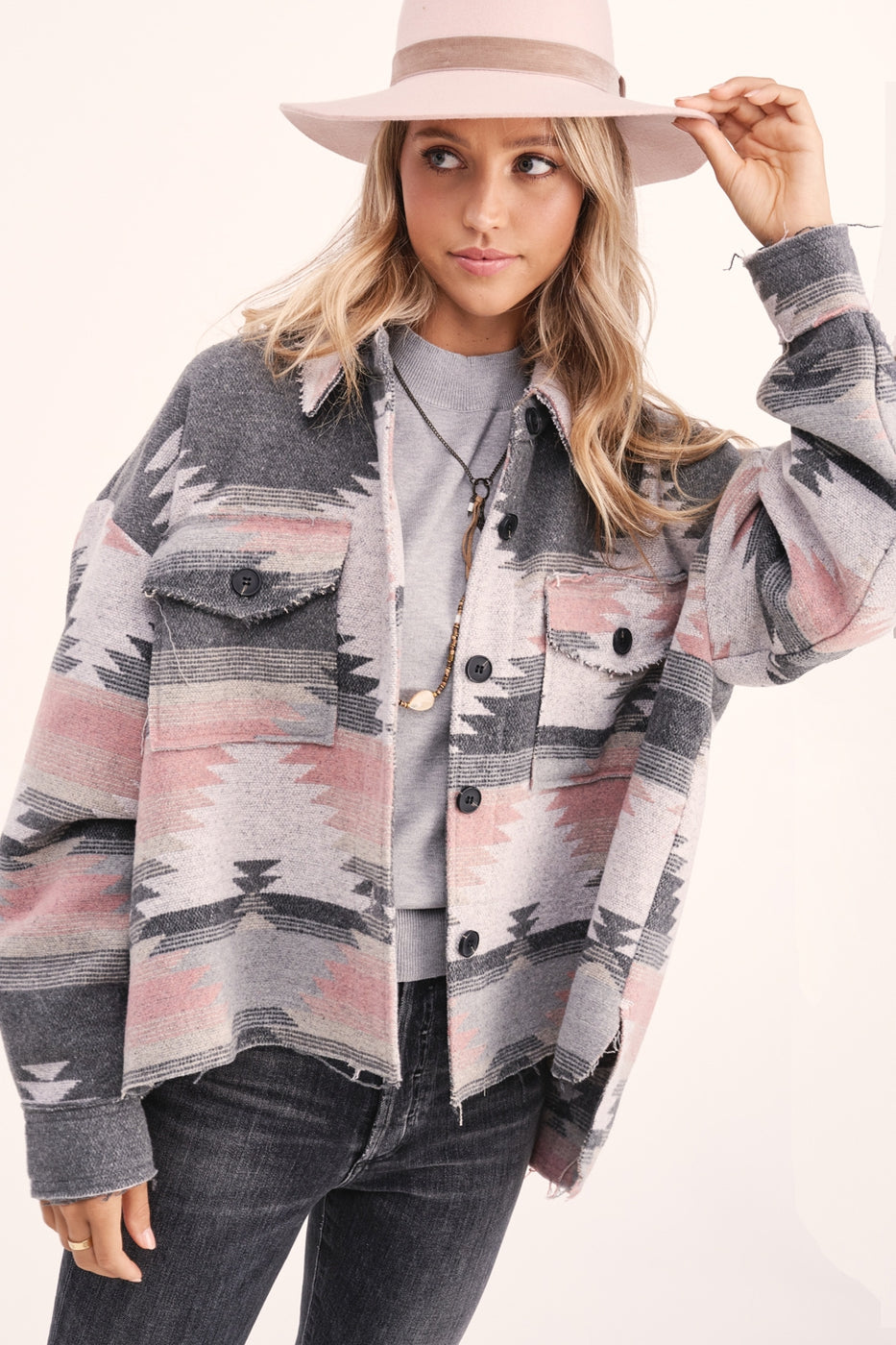Aztec Button Up Jacket - Pink