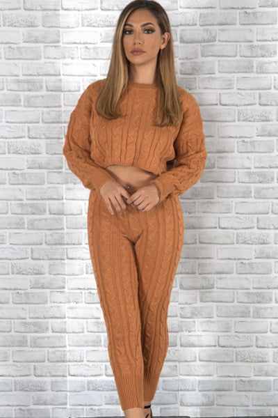 Knitted Sweater Set - Mocha