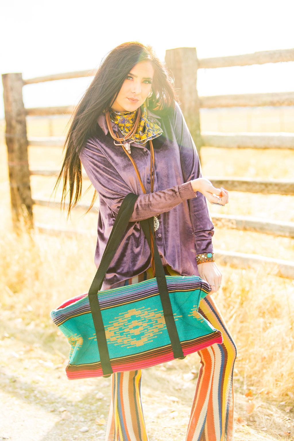 Southwest Weekender Bag - Turquoise and Pink