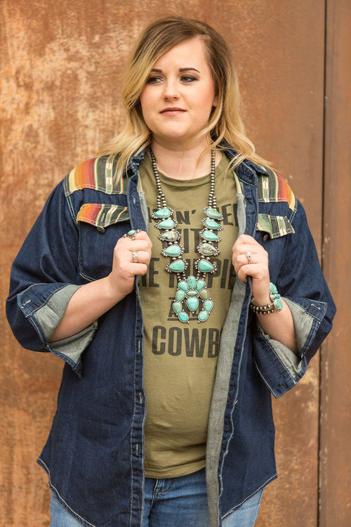 Denim Outlaw Top - Plus Size