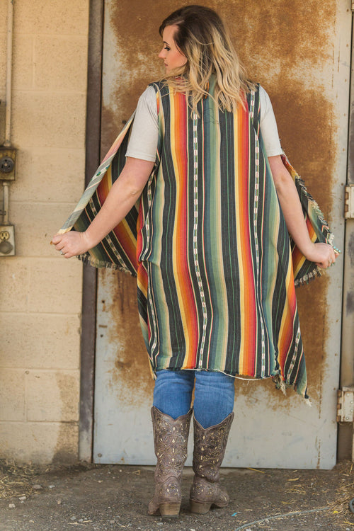 Serape Vest Duster - Charcoal Plus Size