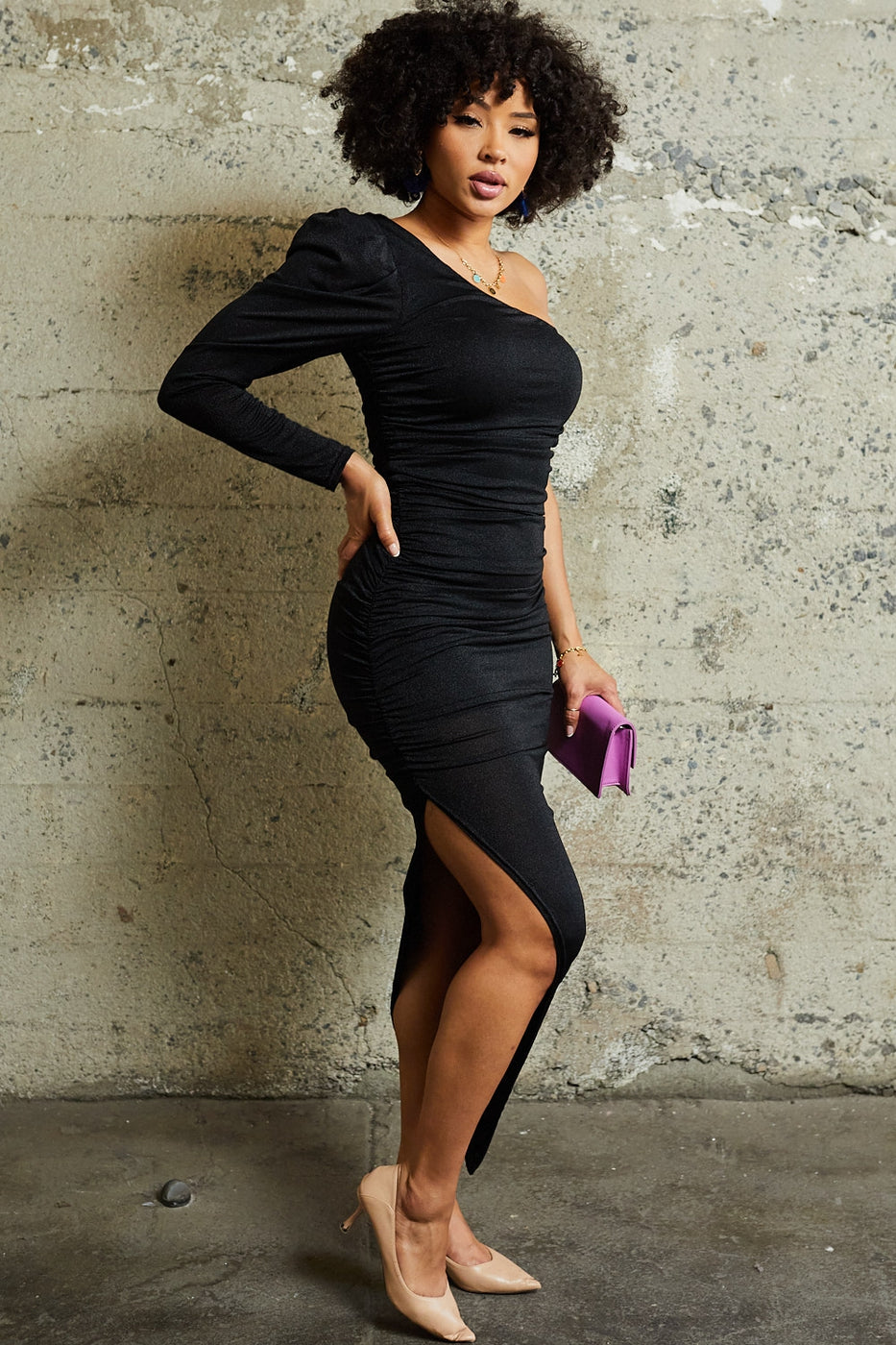 Puff Sleeve Dress - Black