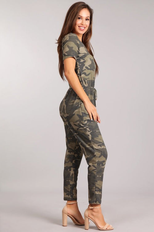 Camo Jumpsuit with Capped Sleeves