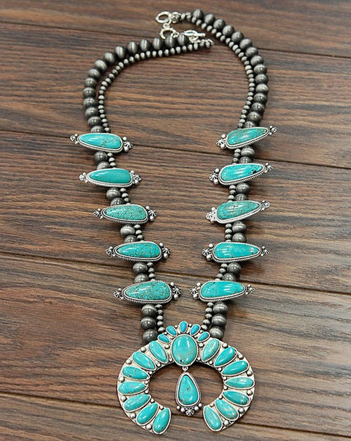 Bigger and Full Squash Blossom Natural Turquoise Necklace