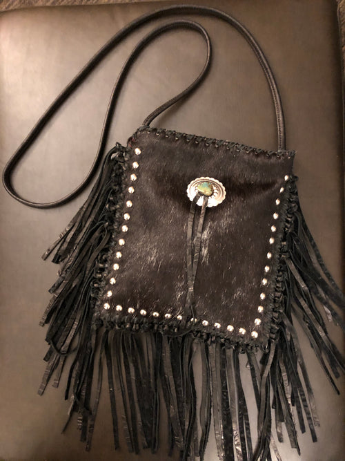 Crossbody Fringe Purse - Black Cowhide