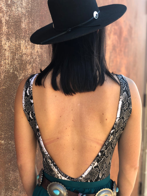 Snake Bodysuit with Low Back