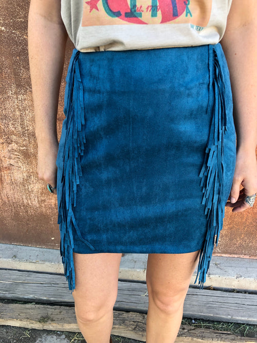 Suede Fringe Mini Skirt - Teal