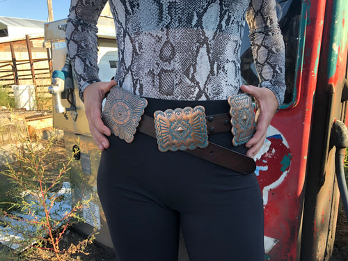 Large Concho Belt - Brown
