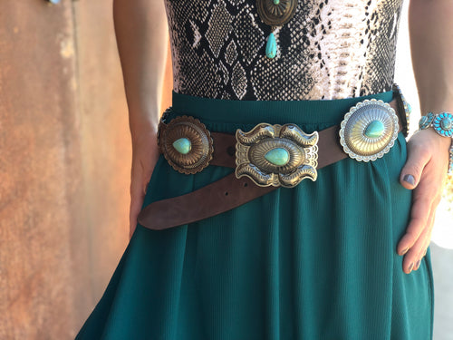 Brown Oval Concho Belt