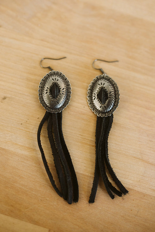 Concho and Leather Earrings - Black