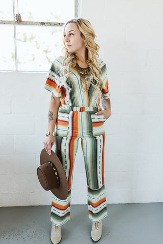 Serape Jumpsuit - Black/Purple