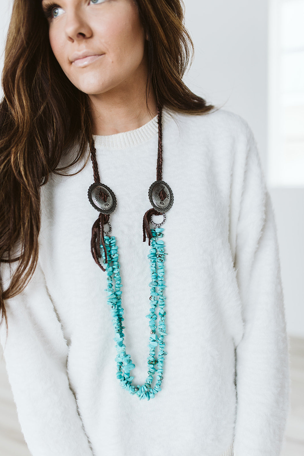 Turquoise and Concho Necklace