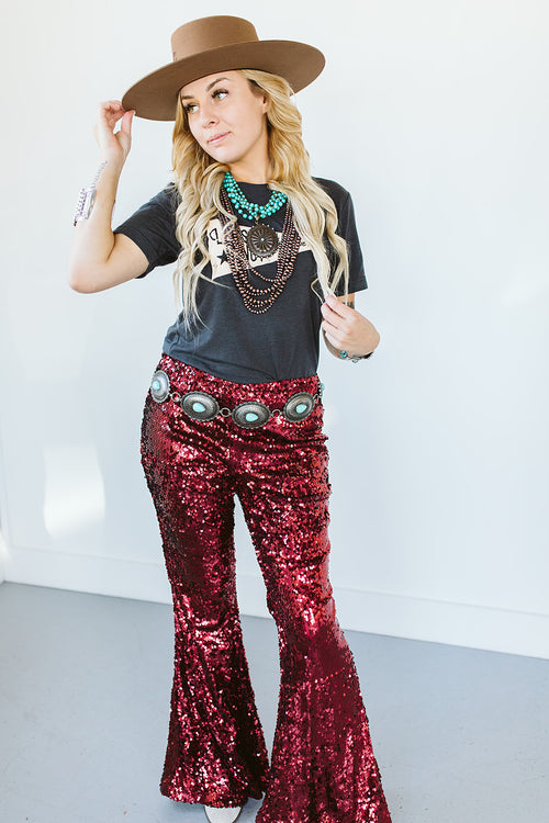 Ain't No Thang Sequin Flares - Burgundy