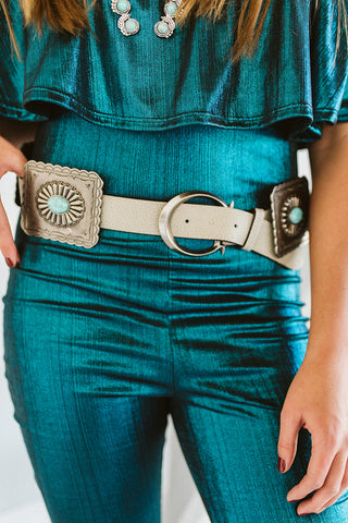 Red and Turquoise Stone Metal Chain Link Belt