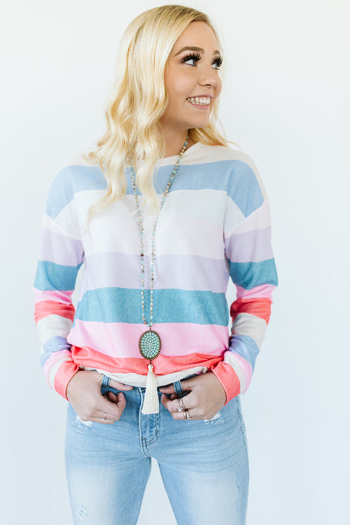 Striped Rainbow Sweater Top