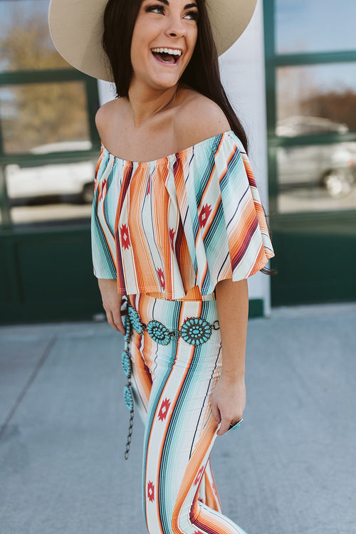 Orange Mint Off The Shoulder Jumpsuit