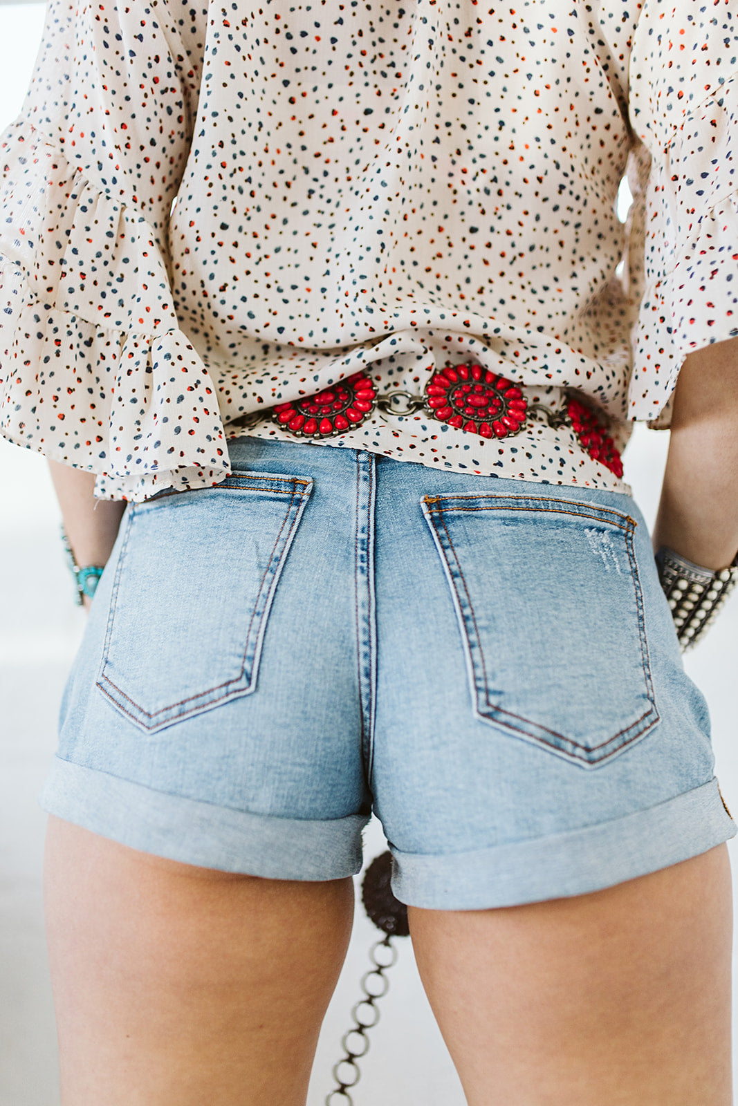 High Rise Roll Up Denim Shorts