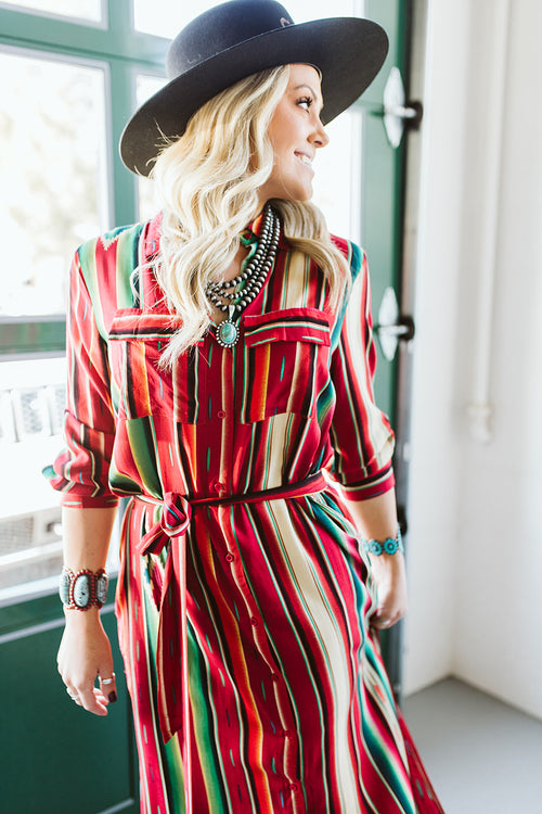 Serape Maxi Dress - Red