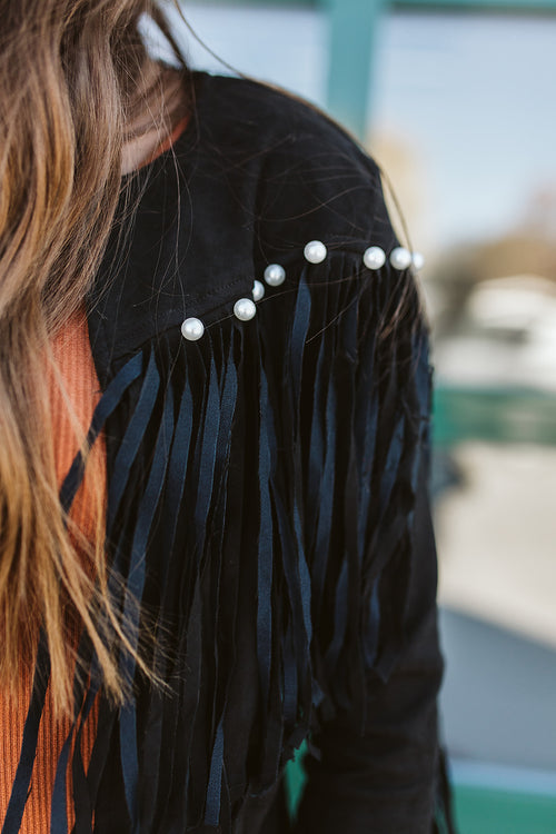 The Gypsy Pearl Fringe Jacket - Black