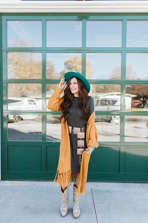 Oversized Knit Cardigan - Mustard