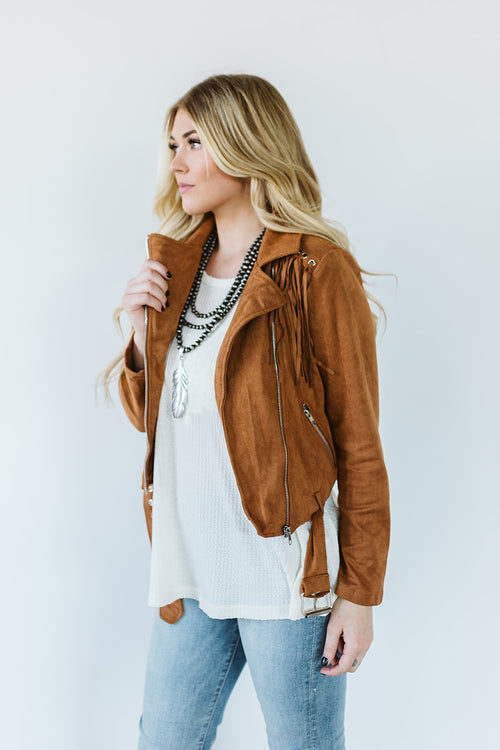 Moto Jacket with Fringe
