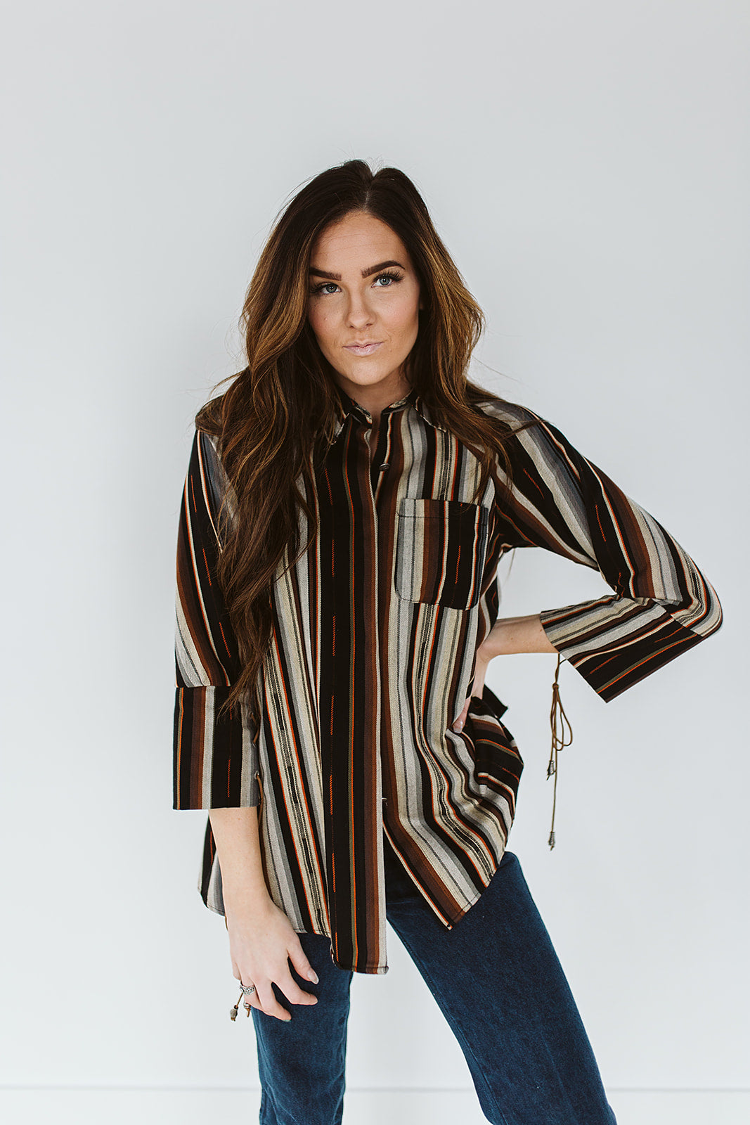 Serape Long Sleeve Button Down w/ Lace Up Cuffs - Black