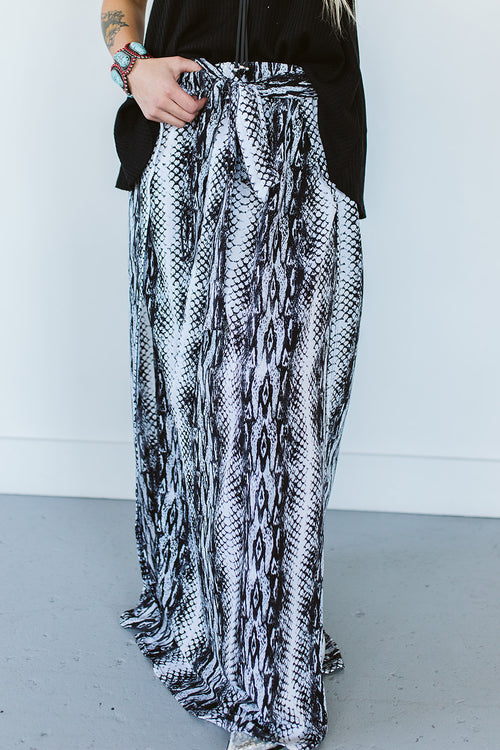 Snake Print Maxi Skirt with Tie Waist