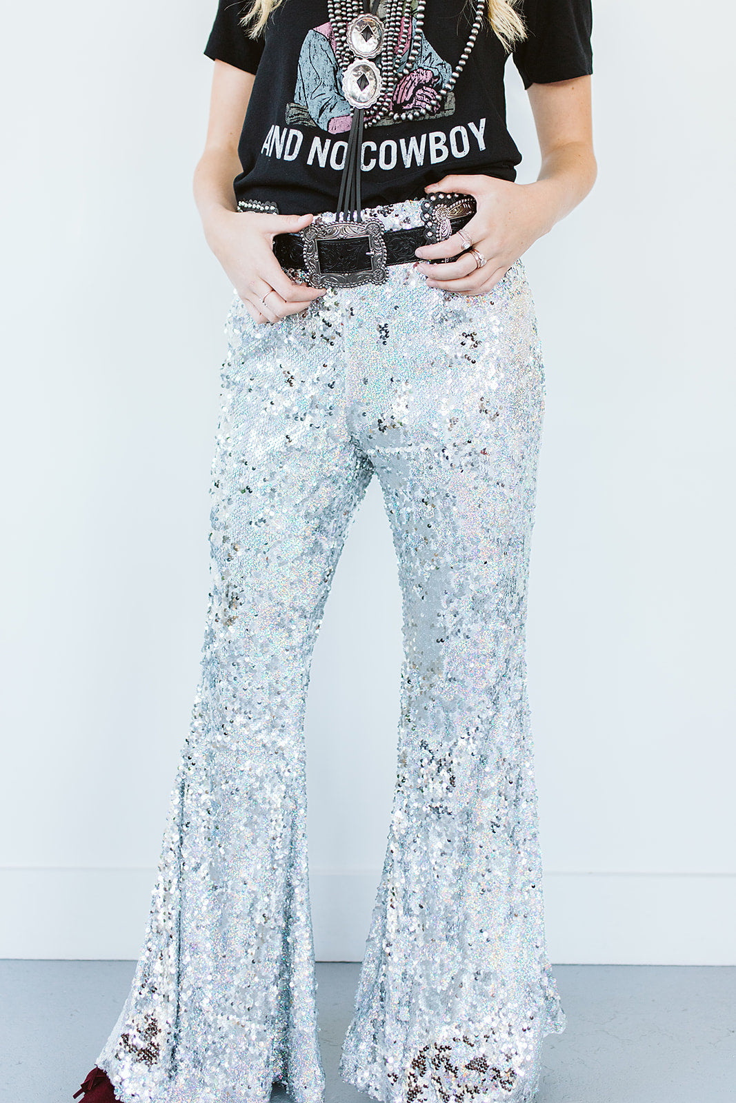 Ain't No Thang Sequin Flares - Silver