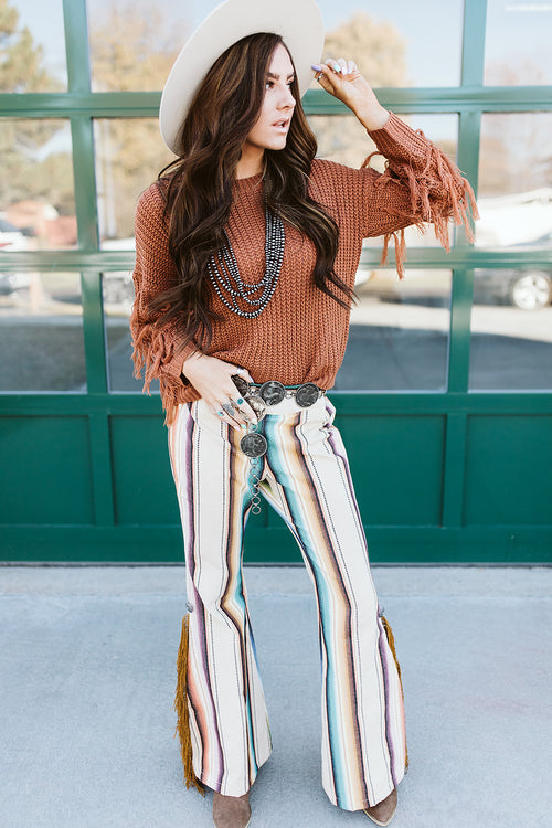 Silverado Ivory Serape Pants with Conchos and Fringe