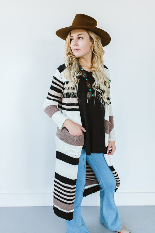 Striped Duster Cardigan