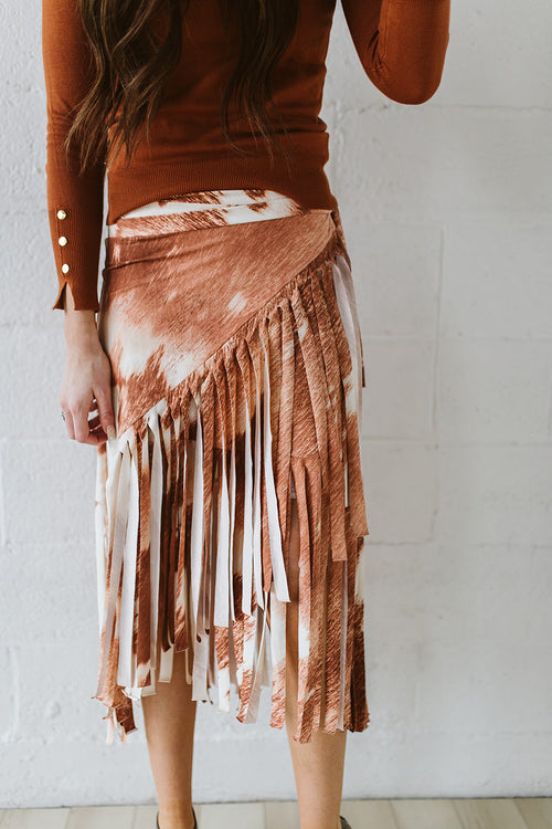Cowhide Wrap Fringe Skirt
