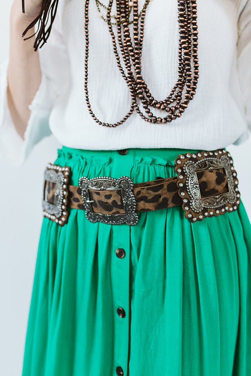 Brown Leopard Square Concho Belt