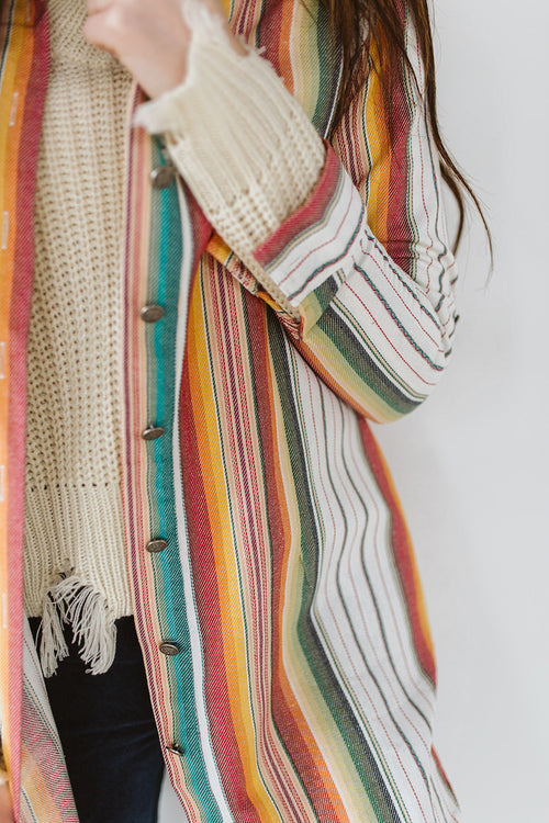Serape Button Up Tunic - Ivory