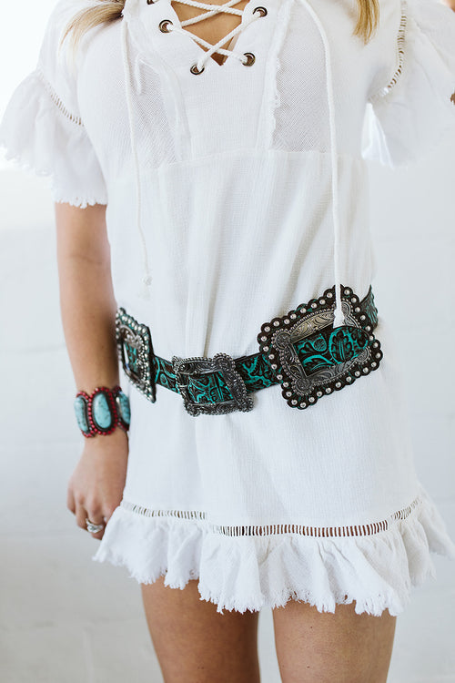 Brown with Turquoise Tooled Square Concho Belt