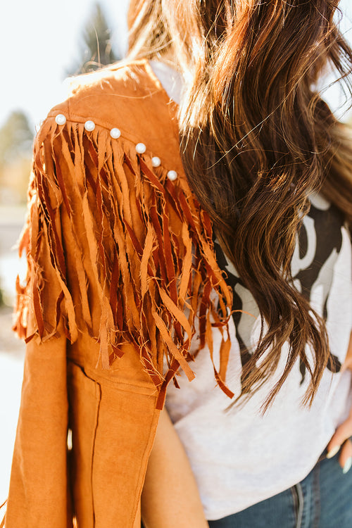 The Gypsy Pearl Fringe Jacket - Caramel