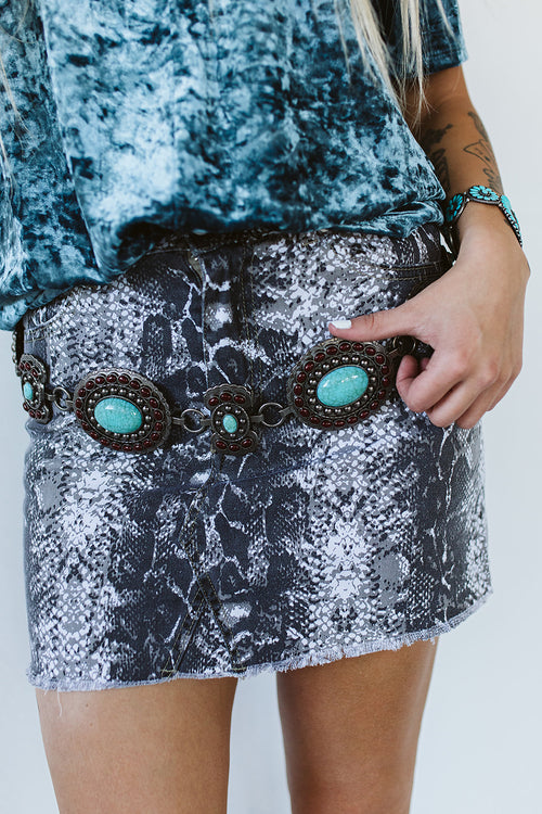 Snake Denim Skirt