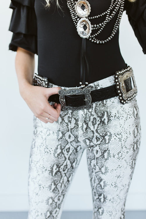 Black Tooled Square Concho Belt