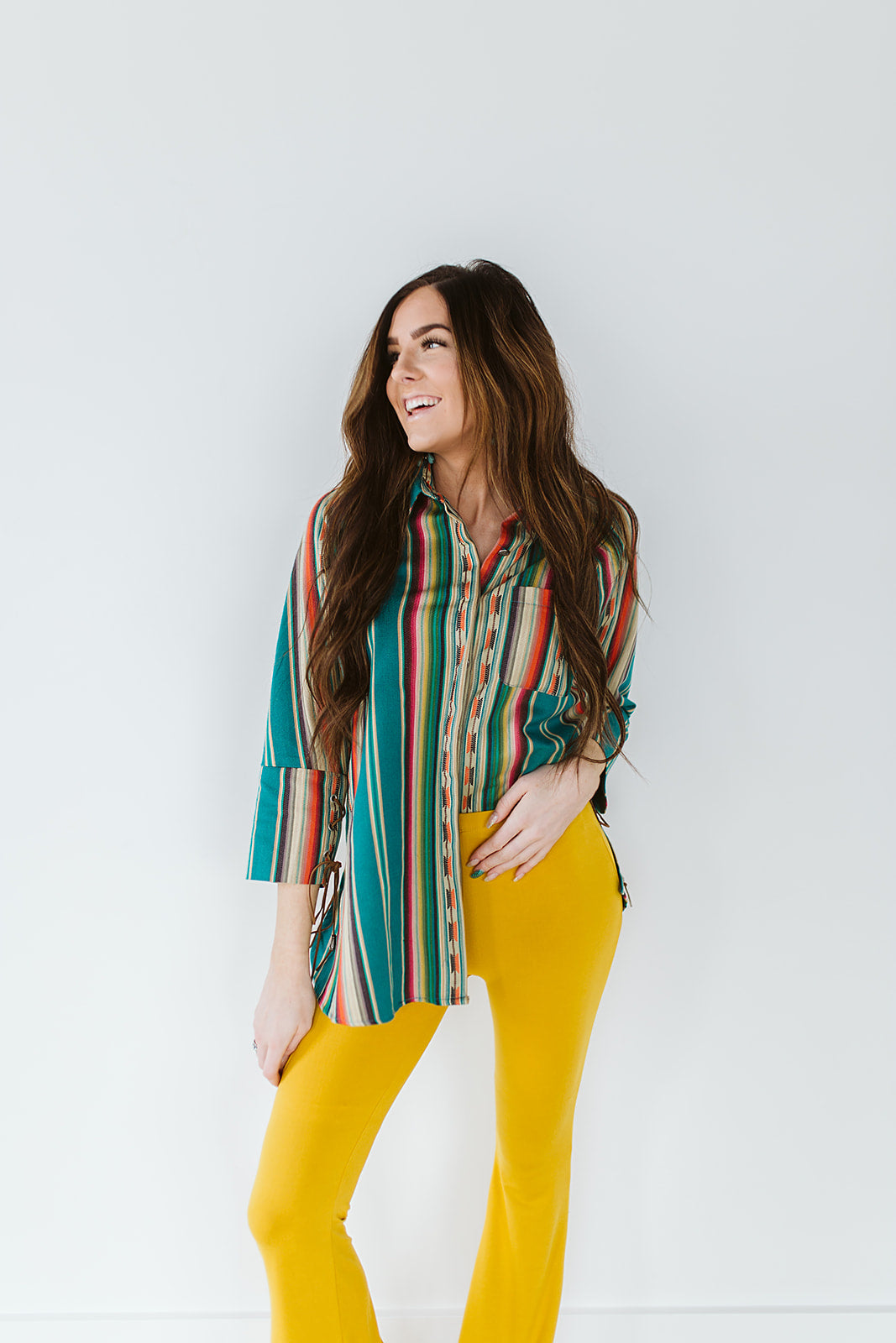Serape Long Sleeve Button Down w/ Lace Up Cuffs - Teal