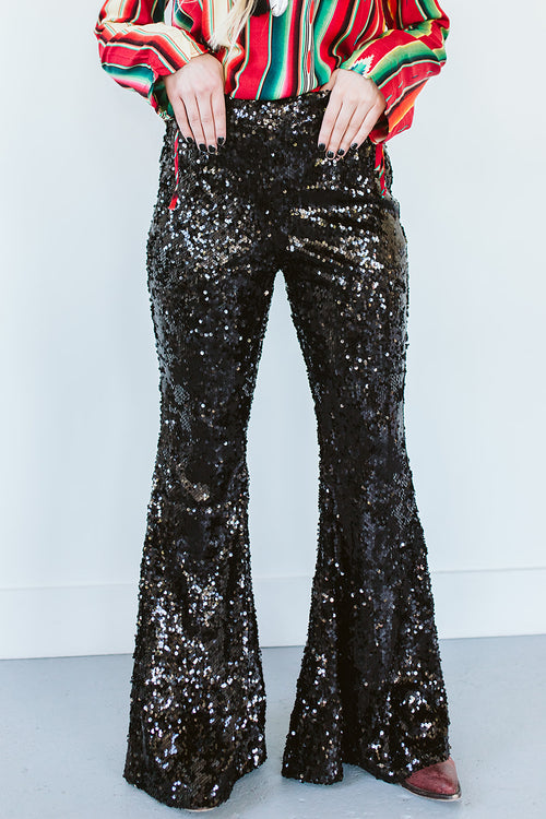 Ain't No Thang Sequin Flares - Black