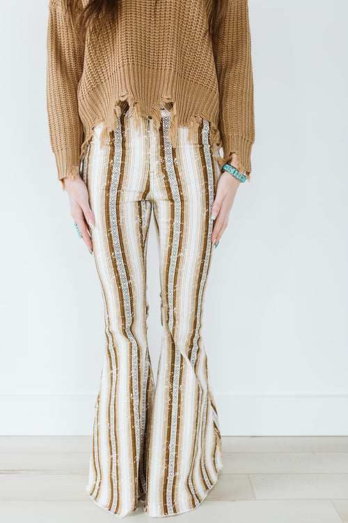 Brown Serape Denim Stretch Flare Jeans