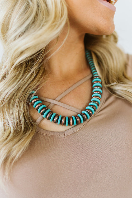 Turquoise and Bronze Strand Necklace
