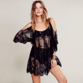 women's black lace beach dress