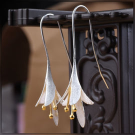 Sterling Silver Long Flower Earrings For Women