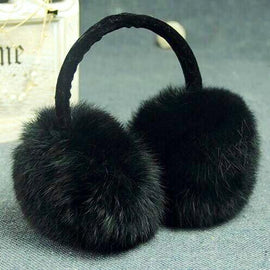 women black fur winter earmuffs