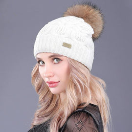 women's fur pom pom beanie hat brown and white