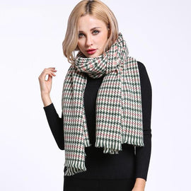 women's winter plaid cashmere scarf style 2