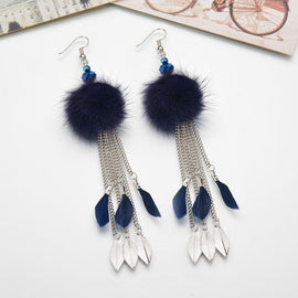 pompom fur ball long dangling tassel earrings color