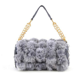 fur bag grey